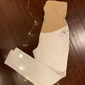 NWT white distressed ankle maternity jeans